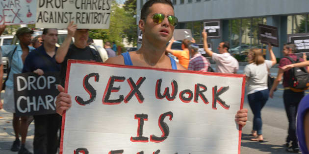 U S  EASTERN DISTRICT COURTHOUSE, BROOKLYN, NEW YORK, UNITED STATES - 2015/08/30: A demonstrator protests the shutdown of Rentboy.com. Activists from New York City's LGBTQ community held a rally outside the U.S. Eastern District Courthouse in Brooklyn to protest the recent raid of Rentboy.com, a male escort service site whose CEO Jeffrey Hurant was arrested along with six others on 25 August 2015. (Photo by Albin Lohr-Jones/Pacific Press/LightRocket via Getty Images)