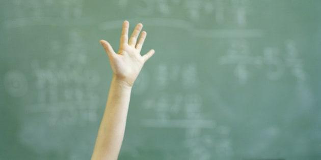 Female student (12-14) raising hand in classroom, close-up