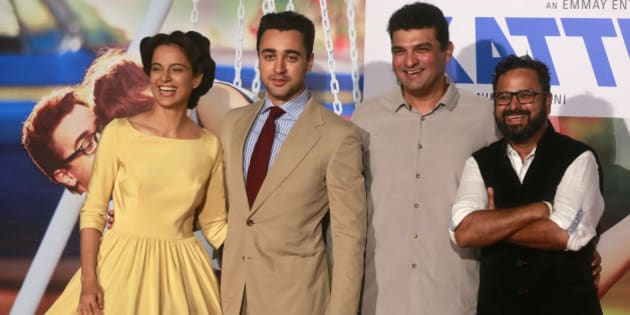 "Indian Bollywood actors Kangana Ranaut, left, Imran Khan, second left, director Nikhil Advani, right, and producer Siddharth Roy Kapur pose for photographs during the trailer launch of their forthcoming movie ""Katti Batti"" in Mumbai, India, Sunday, June 14, 2015. The romantic comedy movie is scheduled to be released on Sept. 18, 2015. (AP Photo/Rafiq Maqbool)"