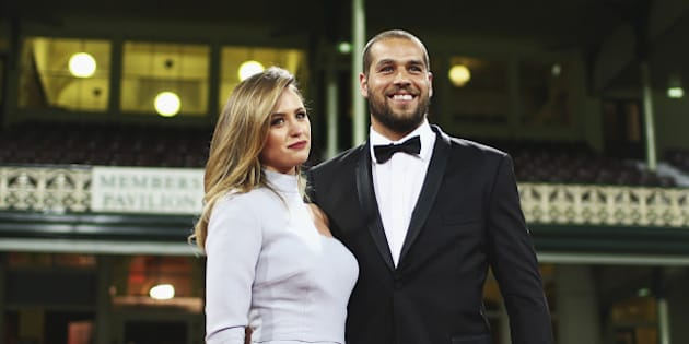 SYDNEY, AUSTRALIA - SEPTEMBER 22:  Lance Franklin of the Swans and partner Jesinta Campbell arrive ahead of the Sydney Swans official Brownlow Medal function at Sydney Cricket Ground on September 22, 2014 in Sydney, Australia.  (Photo by Ryan Pierse/Getty Images)