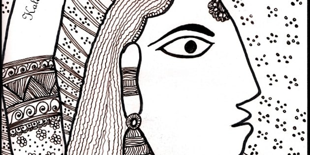 Depicted and tried a Madhubani art In indian Ink medium on A4 size Paper.Taken an example art from website source