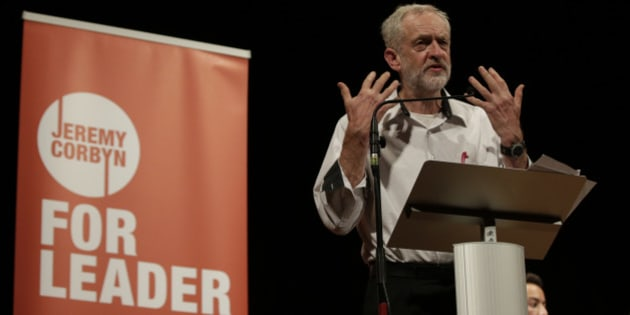 British lawmaker Jeremy Corbyn addressing a meeting during his election campaign for the leadership of the British Labour Party in Ealing, west London, Monday, Aug. 17, 2015. (AP Photo/Alastair Grant)