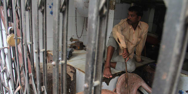 MUMBAI, INDIA - SEPTEMBER 10: Mumbai's mutton traders shut down the shops as four-day meat ban began due to Jain holy festival of Paryushan on September 10, 2015 in Mumbai, India. Earlier this week, the BMC imposed a ban on sale of meat on four days of the Paryushan festival, while the adjoining Mira-Bhayander Municipal Corporation in Thane had declared a complete ban during September 11-18. (Photo by Pramod Thakur/Hindustan Times via Getty Images)