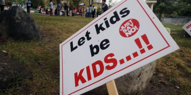 TORONTO, ON - SEPTEMBER 9  -  Signage at R. V. Burgess Park next to Thorncliffe Park Public School for Day 2 of parent run schooling, September 9, 2015. Some parents have kept their children from attending the school to protest the Ontario Government's new sex-ed curriculum.  Andrew Francis Wallace/Toronto Star        (Andrew Francis Wallace/Toronto Star via Getty Images)