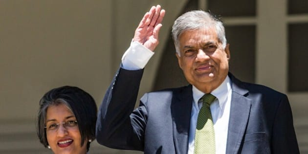 COLOMBO, SRI LANKA - AUGUST 19 : Sri Lankan Prime Minister Ranil Wickremesinghe (R) and his wife Maithree Wickramasinghe pose for photographs after a press conference at their official residence in Colombo, Sri Lanka on August 19, 2015. (Photo by Asanka Brendon Ratnayake/Anadolu Agency/Getty Images)