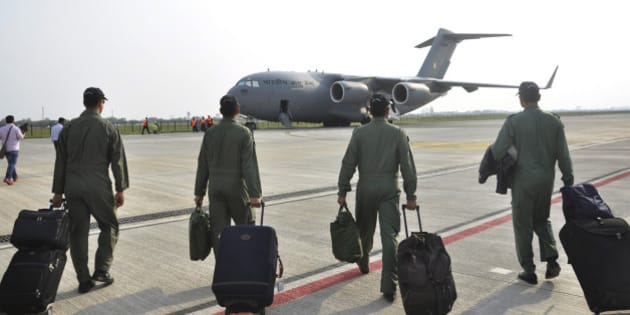 GHAZIABAD, INDIA - APRIL 7: Globemaster C-17 stationed at Hindon Air Force Station on April 7, 2015 in Ghaziabad, India. As part of a massive rescue operation, three C-17 Globemaster aircraft of Indian Air Force have clocked nearly 150 flying hours in the last few days bringing back over 1,300 Indians from Djibouti after their evacuation from strife-torn Yemen. (Photo by Sakib Ali/Hindustan Times via Getty Images)