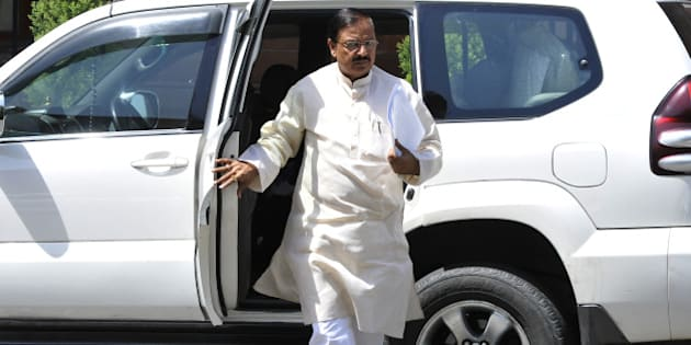 NEW DELHI, INDIA - JUNE 10: Union Tourism Minister Mahesh Sharma arrives to attend Cabinet meeting at PMO office on June 10, 2015 in New Delhi, India. The government has decided to import pulses in large quantities to check rising prices of the commodity. The cabinet also approved Rs.6,000 crore interest free loan to sugar mills to make payments to sugarcane farmers. (Photo by Vipin Kumar/Hindustan Times via Getty Images)
