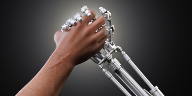 Person shaking hands with a robotic hand, computer artwork.