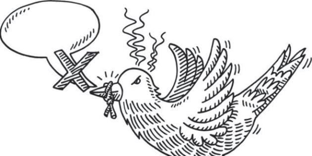 Hand-drawn vector drawing of a Gagged Bird and a Speech Bubble, Social Media Censorship Concept Image. Black-and-White sketch on a transparent background (.eps-file). Included files are EPS (v10) and Hi-Res JPG.