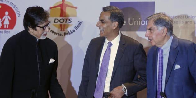 Bollywood superstar Amitabh Bachchan, left, U.S. Ambassador to India Richard Verma, center and Tata Group chairman emeritus Ratan Tata interact at the launch of an event aimed at eradication of Tuberculosis in India in Mumbai, India, Thursday, Sept.10, 2015. (AP Photo/Rajanish Kakade)