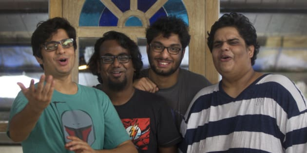 MUMBAI, INDIA - JULY 14: Members of Indian comedy group All India Bakchod or AIB (L-R) Rohan Joshi, Ashish Shakya, Gursimran Khamba and Tanmay Bhat pose for the profile shoot at Versova on July 14, 2015 in Mumbai, India. The group maintains a YouTube channel that shows their comedy sketches and parodies on topics such as politics, society, and the Hindi film industry, and much of their reputation was founded on their online presence. As of March 2015 the group has over 1.157 million subscribers on YouTube. (Photo by Satish Bate/Hindustan Times Via Getty Images)