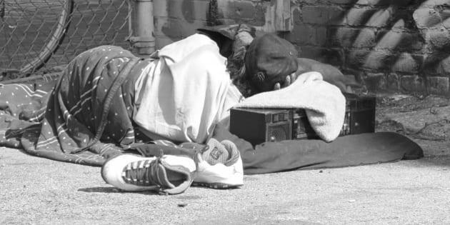 <b>Homeless sleeping</b> Market and Gough Streets San Francisco, CA