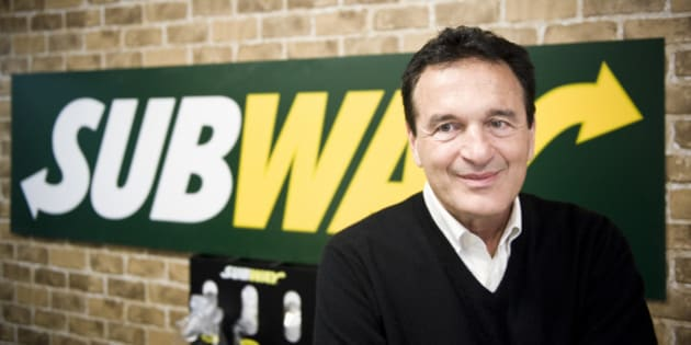Fred DeLuca, President and founder of sandwich maker Subway, smiles during an interview in a Subway restaurant at 'Solna Centrum' in Stockholm on March 10, 2011.  The self-made billionaire who heads up sandwich maker Subway, now the world's largest fast food chain in terms of restaurants, never thought his operation would become bigger than McDonald's.   'It was just a way to pay my way through college,' Fred DeLuca, who started his business at age 17, told AFP at a newly opened restaurant in Stockholm on March 10.  AFP PHOTO/JONATHAN NACKSTRAND (Photo credit should read JONATHAN NACKSTRAND/AFP/Getty Images)