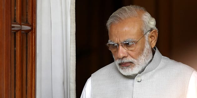NEW DELHI, INDIA - SEPTEMBER 15: Prime Minister Narendra Modi prior to a meeting with Sri Lankan Prime Minister Ranil Wickremesinghe at Hyderabad House on September 15, 2015 in New Delhi, India. The Sri Lankan Prime Minister Ranil Wickremsinghe arrived in India on a three day official visit. Prime Minister Narendra Modi urged his Sri Lankan counterpart Ranil Wickremesinghe to treat the issue of fishermen as a humanitarian matter. (Photo by Ajay Aggarwal/Hindustan Times via Getty Images)