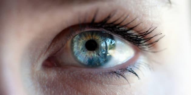 A macro shot of a human eye.