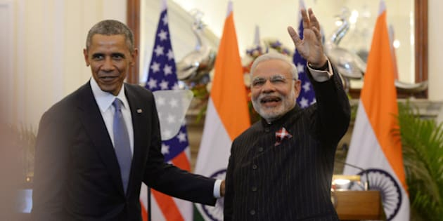 NEW DELHI, INDIA  JANUARY 26: Prime Minister Narendra Modi and US President Barack Obama at a joint press conference at Hyderabad House in New Delhi.(Photo by Pankaj Nangia/India Today Group/Getty Images)