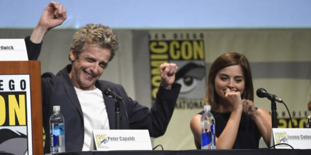 "Peter Capaldi, left, and Jenna Coleman attend the ""Doctor Who"" panel on day 1 of Comic-Con International on Thursday, July 9, 2015, in San Diego, Calif. (Photo by Chris Pizzello/Invision/AP)"