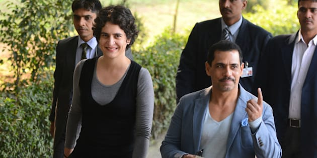 NEW DELHI, INDIA  FEBRUARY 8: Robert Vadra and Priyanka Gandhi after casting the vote in New Delhi.(Photo by Parveen Negi/India Today Group/Getty Images)
