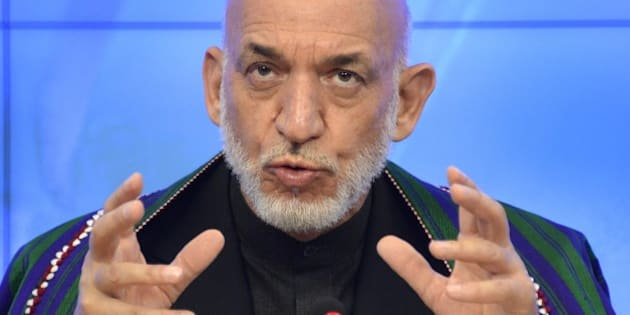 Former Afghan President Hamid Karzai speaks during a press conference in Moscow on June 25, 2015. AFP PHOTO / ALEXANDER NEMENOV        (Photo credit should read ALEXANDER NEMENOV/AFP/Getty Images)