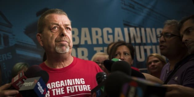 TORONTO, ON - AUGUST 18: Sam Hammond, president of the Ontario elementary teachers union, speaks at the he annual general meeting in the Westin Harbour Castle.        (Melissa Renwick/Toronto Star via Getty Images)
