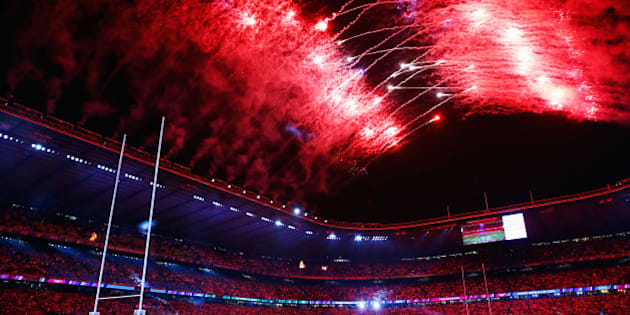 LONDON, ENGLAND - SEPTEMBER 18:  Fireworks light up the sky during the opening ceremony ahead of the 2015 Rugby World Cup Pool A match between England and Fiji at Twickenham Stadium on September 18, 2015 in London, United Kingdom.  (Photo by Mike Hewitt/Getty Images)