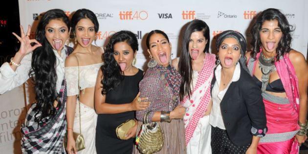 TORONTO, ON - SEPTEMBER 18:  Cast attends premiere of 'Angry Indian Godesses' at the 2015 Toronto International Film Festival, L-R Pavleen Gujral, Sarah-Jane Dias, Tannishtha Chatterjee, Sandhya Mridul, Amrit Maghera, Rajshri Deshpande and Anushka Manchanda at The Elgin on September 18, 2015 in Toronto, Canada.  (Photo by Ernesto Distefano/Getty Images)