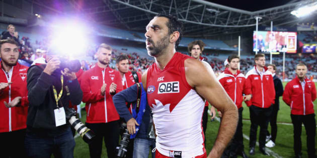 SYDNEY, AUSTRALIA - SEPTEMBER 19:  Adam Goodes of the Swans walks from the ground after the First AFL Semi Final match between the Sydney Swans and the North Melbourne Kangaroos at ANZ Stadium on September 19, 2015 in Sydney, Australia.  (Photo by Ryan Pierse/Getty Images)