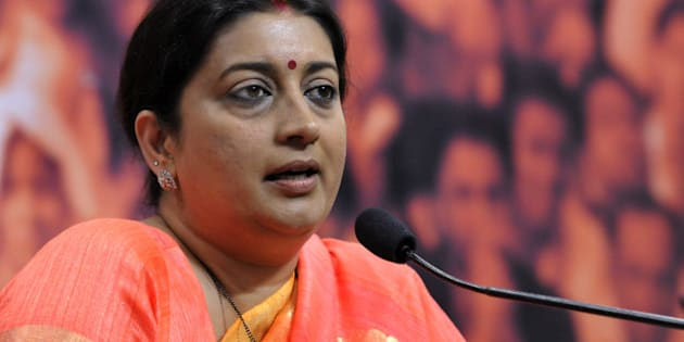NEW DELHI, INDIA - SEPTEMBER 8: Union HRD Minister and BJP leader Smriti Irani hits out during a press conference after Sonia Gandhi attacked Prime Minister Narendra Modi on September 8, 2015 in New Delhi, India. Union Human Resource Development Minister said that Congress President Sonia Gandhi's Hawabaazi remark on Prime Minister Narendra Modi indicated their own failures and their desire to hide it. (Photo by Mohd Zakir/Hindustan Times via Getty Images)