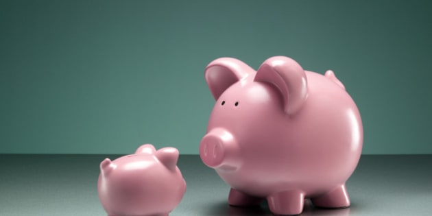 Small and large piggy bank