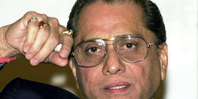 Board for Control of Cricket in India, or BCCI, President Jagmohan Dalmiya, gestures during a press conference in New Delhi, India, Monday, Nov. 26, 2001. Dalmiya said that BCCI expresses its firm opinion that most decisions taken against Indian crickets in the second test match against South Africa by Mike Denness as an International Cricket Councils' match refree were too harsh and biased. (AP Photo/Ajit Kumar)