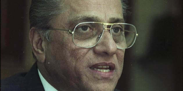 KOLKATA, INDIA - FEBRUARY 19: (File photo) Jagmohan Dalmiya at BCCI special meeting on February 19, 2004 in Kolkata, India. BCCI President Jagmohan Dalmiya has died of a heart attack in Kolkata. He was 75 years old. Dalmiya was in city's BM Birla Hospital since Thursday night after he complained of chest pain and breathing troubles. He is survived by his wife, son Abhishek and a daughter. He had served the BCCI for 36 years. He became treasurer of the organisation in 1983 and was instrumental in helping India host the 1987 and 1996 World Cups. (Photo By Debasish Bhaduri/Hindistan Times via Getty Images)