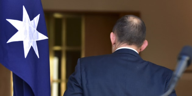Outgoing Australian Prime Minister Tony Abbott walks away from the lectern after speaking at a press conference at Parliament House in Canberra, Australia, Tuesday, Sept. 15, 2015. Malcolm Turnbull will be sworn in as Australia's 29th prime minister on Tuesday after a surprise ballot of his conservative Liberal Party colleagues voted 54-to-44 on Monday night to replace Prime Minister Abbott only two years after he was elected. (AP Photo/Rob Griffith)