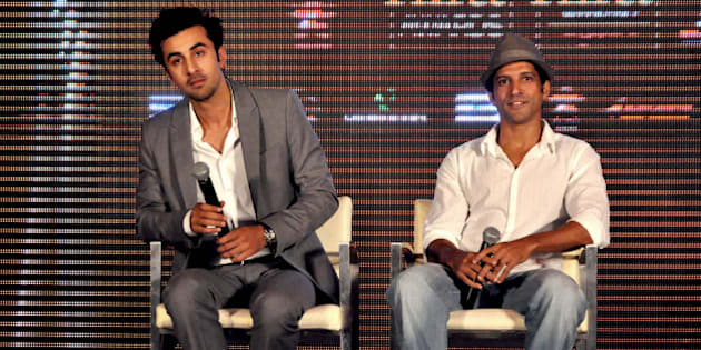 Indian Bollywood film actor Ranbir Kapoor (L) and filmmaker, script writer, actor, playback singer, lyricist and producer Farhan Akhtar attend the press conference for the announcement of the 'IIFA Awards 2012' ceremony in Mumbai on June 1, 2012.  AFP PHOTO/STR        (Photo credit should read STRDEL/AFP/GettyImages)