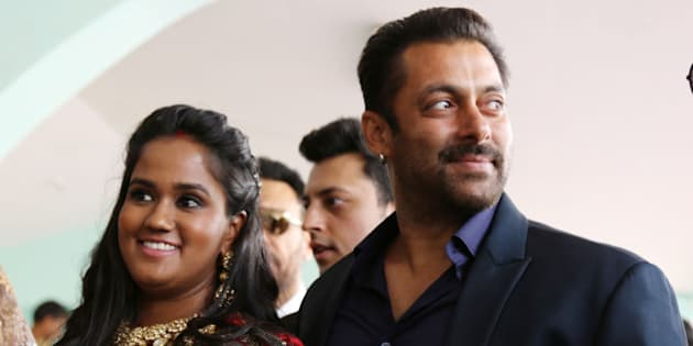 MANDI, INDIA - MAY 25: Bollywood actor Salman Khan with sister Arpita Khan Sharma, attending her marriage reception on May 25, 2015 in Mandi, India. Salman Khan thanked the people of this hill town for warmly accepting her as their daughter-in-law. (Photo by Birbal Sharma/Hindustan Times via Getty Images)