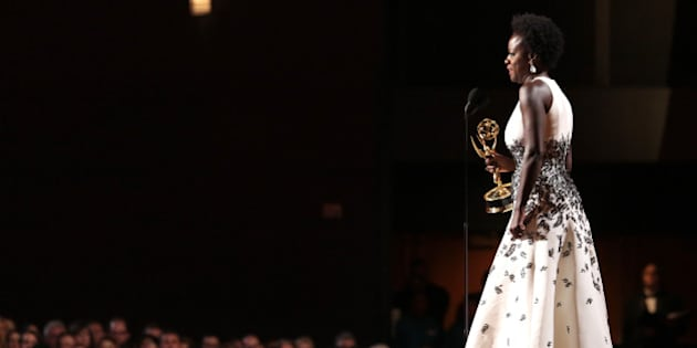 """Viola Davis accepts the award for outstanding lead actress in a drama series for""""How to Get Away With Murder"""" at the 67th Primetime Emmy Awards on Sunday, Sept. 20, 2015, at the Microsoft Theater in Los Angeles. (Photo by Alex Berliner/Invision for the Television Academy/AP Images)"""