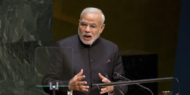 Indian Prime Minister Narendra Modi addresses the 69th United Nations General Assembly at UN headquarters, Saturday, Sept. 27, 2014. (AP Photo/Craig Ruttle)