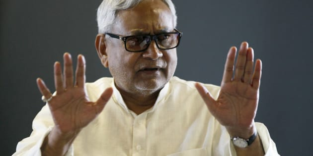 NEW DELHI, INDIA - AUGUST 19: JDU leader and Bihar Chief Minister Nitish Kumar during an interview at Hindustan Times House on August 19, 2015 in New Delhi, India. Aam Aadmi Party leader and Delhi Chief Minister Arvind Kejriwal will campaign against the Bharatiya Janata Party (BJP) in the run-up to the Bihar assembly polls. (Photo by Raj K Raj/Hindustan Times via Getty Images)