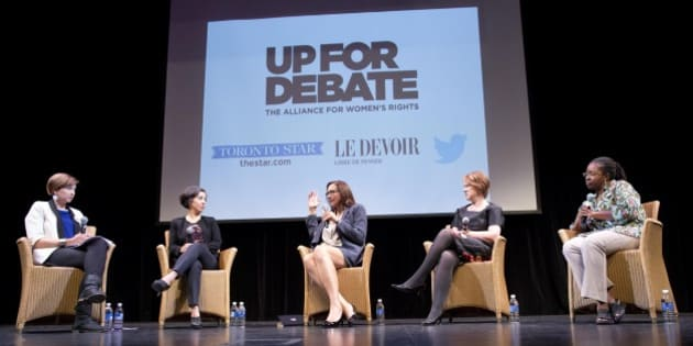 TORONTO, ON - SEPTEMBER 21: Toronto, On- Sep 21, 2015 Moderator Laura Payton(left) and panelists Alejandra Bravo, Katherine Hensel, Kate Mcinturff and Angela Robertson participated in the Up For Debate event at the Isabel Bader Theatre. The panelist viewed and commented on a series of interviews from all of the leading candidates in the federal election with the exception of Stephen Harper who declined to participate.        (Lucas Oleniuk/Toronto Star via Getty Images)