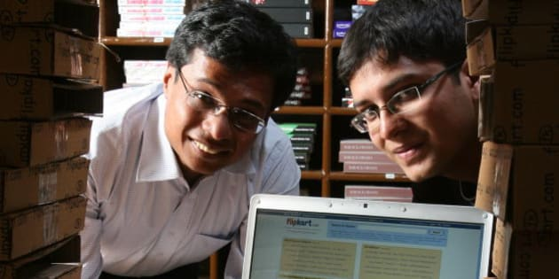 INDIA - FEBRUARY 19:  Left to right : Sachin Bansal with Binny Bansal, Co-Founder, Flipkart.com, at his office in Bangalore, India.  (Photo by Deepak G Pawar/The India Today Group/Getty Images)