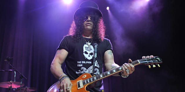 SAN FRANCISCO, CA - JULY 29:  Slash of Guns N' Roses performs at the Kings of Chaos concert for Ric O'Berry's Dolphin Project Benefit, a non profit campaign to end dolphin slaughter around the world, featuring rock legendsat The Fillmore on July 29, 2015 in San Francisco, California.  (Photo by Steve Jennings/Getty Images)