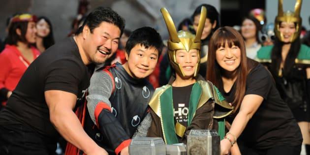 TOKYO, JAPAN - JANUARY 26: (L-R) Kensuke Sasaki, Kennosuke Sasaki, Seinosuke Sasaki and Alira Hokuto attend the 'Thor: The Dark World' premiere at Cinema Mediage on January 26, 2014 in Tokyo, Japan.  (Photo by Jun Sato/WireImage)