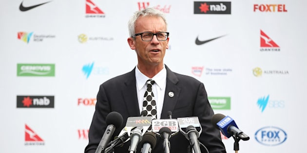 SYDNEY, AUSTRALIA - MARCH 03:  FFA CEO, David Gallop addresses the media during a press conference to announce the Socceroos World Cup farewell match against South Africa to be held on 26 May at ANZ Stadium on March 3, 2014 in Sydney, Australia.  (Photo by Brendon Thorne/Getty Images)
