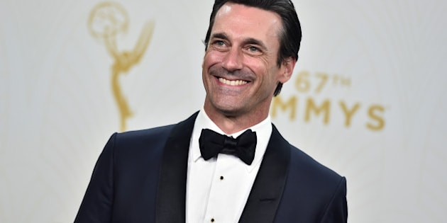 "Jon Hamm with the award for outstanding lead actor in a drama series for ""Mad Men"" poses in the press room at the 67th Primetime Emmy Awards on Sunday, Sept. 20, 2015, at the Microsoft Theater in Los Angeles. (Photo by Jordan Strauss/Invision/AP)"