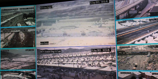 Muslim pilgrims attending the annual hajj pilgrimage are seen on CCTV screens at a security command in Mina, Saudi Arabia, in Friday, Sept. 25 2015, a day after a stampede killed more than 700 people. Saudi authorities are investigating what sparked Thursday's disaster in Mina, about 5 kilometers (3 miles) from Mecca. Initial reports suggested two crowds coming from opposing directions converged on an intersection, which began pushing and shoving until a stampede began. (AP Photo/Mosa'ab Elshamy)