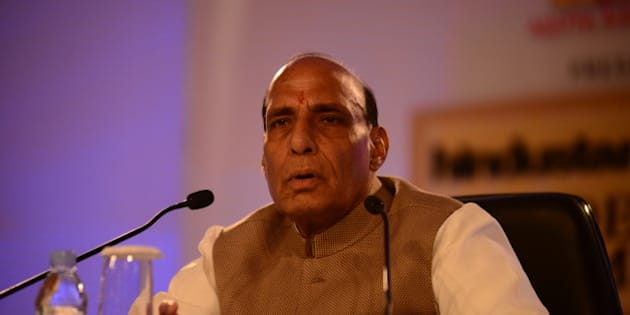 NEW DELHI, INDIA  NOVEMBER 21: Union Minister Rajnath Singh at Hindustan Times Leadership Summit 2014 on November 21, 2014 in New Delhi, India. (Photograph by Pradeep Gaur/Mint Via Getty Images)