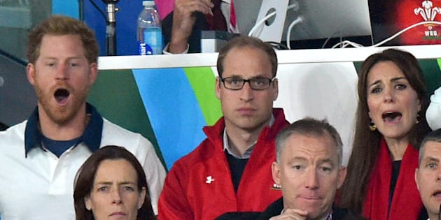 LONDON, UNITED KINGDOM - SEPTEMBER 26:  Prince Harry, Prince William, Duke of Cambridge and Catherine; Duchess of Cambridge attend the England v Wales match during the Rugby World Cup 2015 on September 26, 2015 at Twickenham Stadium, London, United Kingdom.  (Photo by Karwai Tang/WireImage)