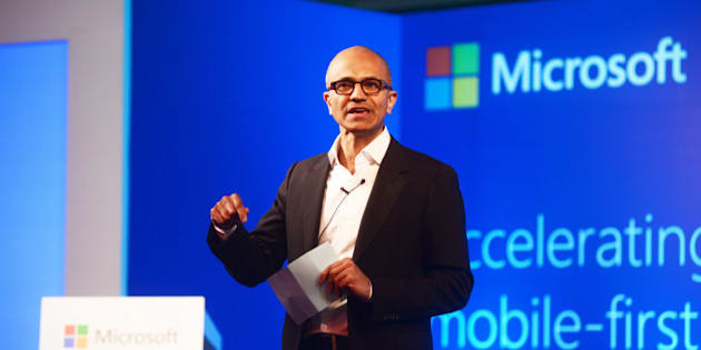 NEW DELHI, INDIA - SEPTEMBER 30: Satya Nadella, Chief Executive Officer of Microsoft, speaking to media at ITC on September 30, 2014 in New Delhi, India. (Photo by Ramesh Pathania/Mint via Getty Images)