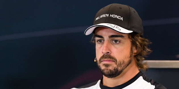 McLaren driver Fernando Alonso of Spain addresses the media at the Spa-Francorchamps circuit, Belgium, Thursday, Aug. 20, 2015.  The Belgium Formula One Grand Prix will be held on Sunday. (AP Photo/Geert Vanden Wijngaert)