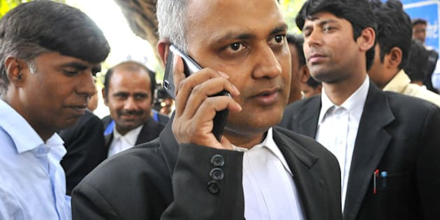 NEW DELHI, INDIA - MARCH 6: Former Delhi Law Minister Somnath Bharti at Patiala Court to appear on behalf of arrested AAP Party supporters in connection with clashes between AAP and BJP workers at BJP headquarters on March 6, 2014 in New Delhi, India. Fourteen Aam Aadmi Party workers who were arrested in connection with clashes with BJP supporters at the latter's national headquarters here were today granted bail by a Delhi court. Police have named AAP leaders Ashutosh and Shazia Ilmi in their FIR, but the duo were not arrested. (Photo by Vipin Kumar/Hindustan Times via Getty Images)