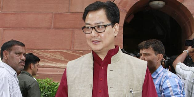 NEW DELHI, INDIA - JULY 31: Union Minister of State for Home Affairs Kiren Rijiju at Parliament house during the Monsoon Session, on July 31, 2015 in New Delhi, India. Some business was conducted today in the Lok Sabha which has been witnessing disruptions ever since the Monsoon session began on July 21 as the opposition has been relentlessly and vociferously raising the issue of Lalit Modi controversy and Vyapam scam. (Photo by Sanjeev Verma/Hindustan Times via Getty Images)